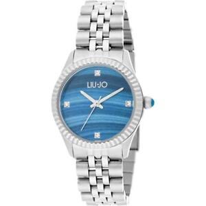 Orologio-Donna-LIU-JO-Luxury-TINY-TLJ1304-Bracciale-Acciaio-Blu-Swarovski