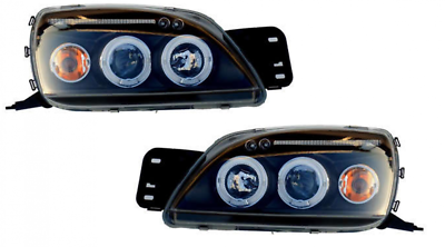 Ford Fiesta Mk6 01-08 Black Twin Angel Eye Projector Headlights H1 Powerbulbs