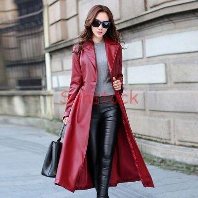Womens Leather Lapel Long Style Punk Coats Tunic Swing Jacket Chic Sexy  Parka sz