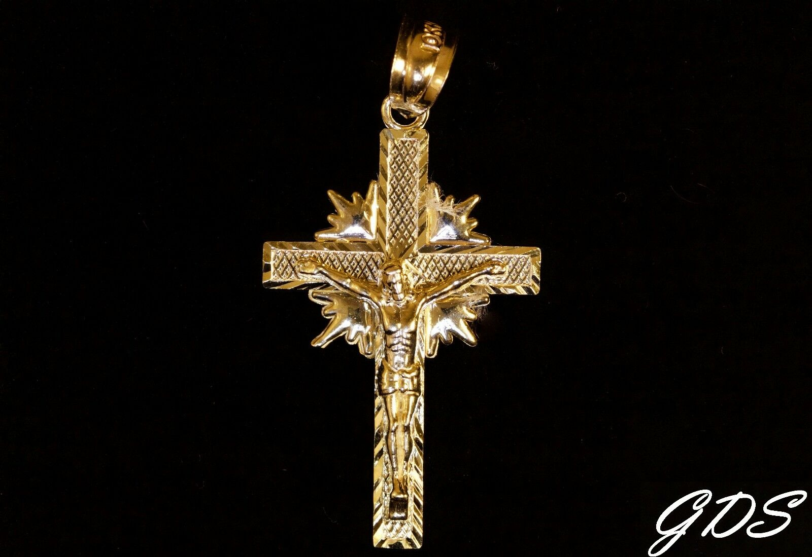 Real Genuine 10k Yellow gold D C Jesus Cross with Crucifix Pendant Charm Piece