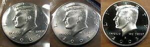 UNC Upper Grades 2005-P /& D 2 coins Kennedy Half Dollars CLAD SATIN FINISH MS