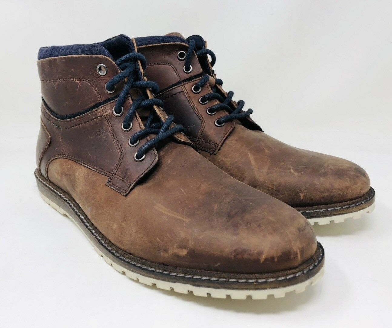 Bar III Men's Chance Plain-Toe Ankle Boots Size 11 Brown Leather