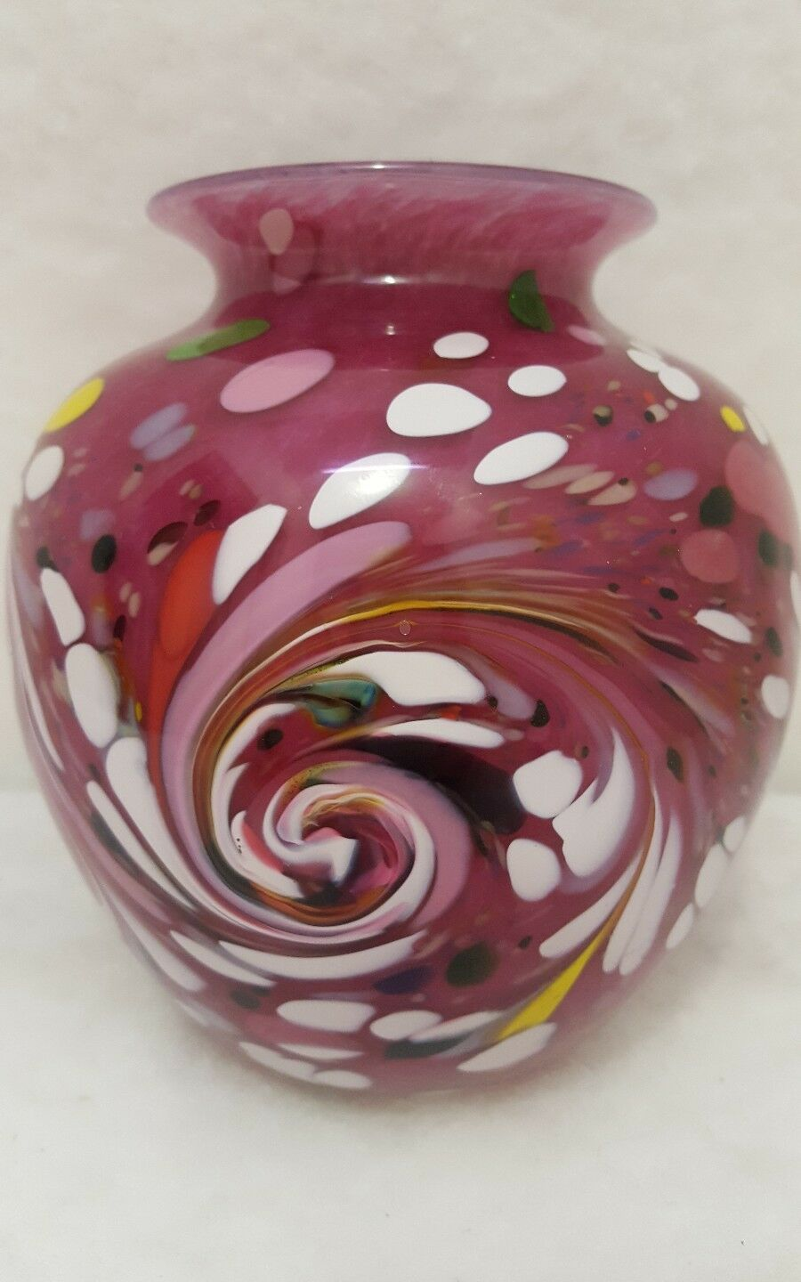 Red and Gold Art Glass Vase by Paul Crosbie