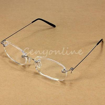 New Light Weight Rimless Reading Glasses & Carrying Case +1.0 1.5 2.0 2.5 3.0