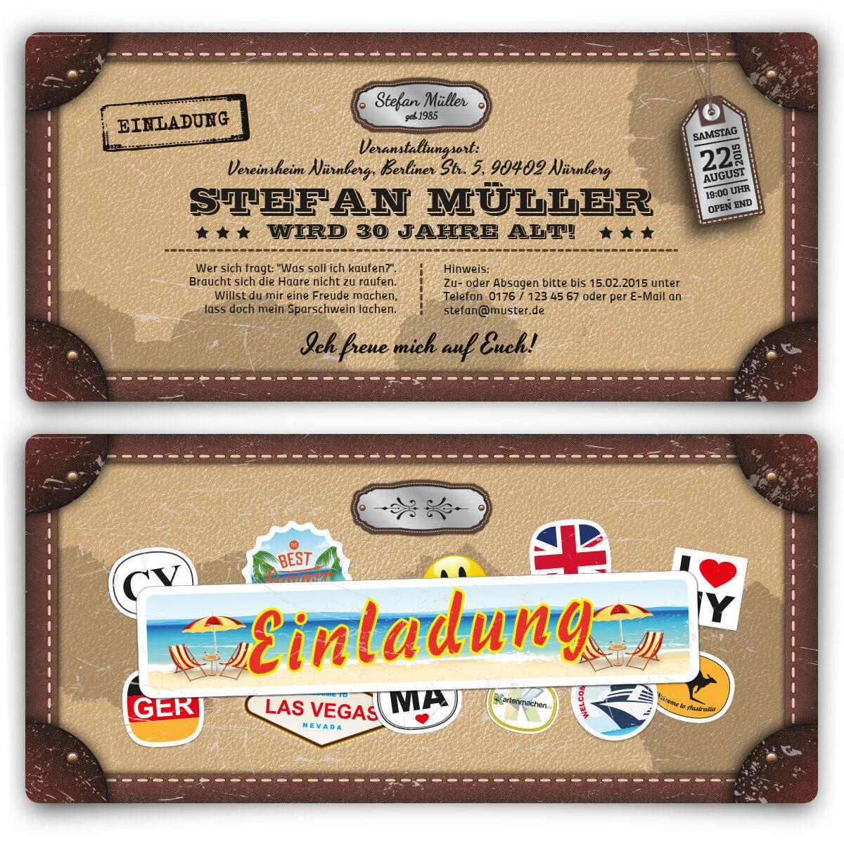 Einladungskarten zum Geburtstag als Reisekoffer im Alt Leder Vintage Look Karte | Hohe Qualität Und Geringen Overhead  | Authentisch