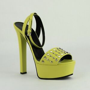 cde27efc3 Image is loading 695-Gucci-Neon-Yellow-Leather-Platform-Heel-with-