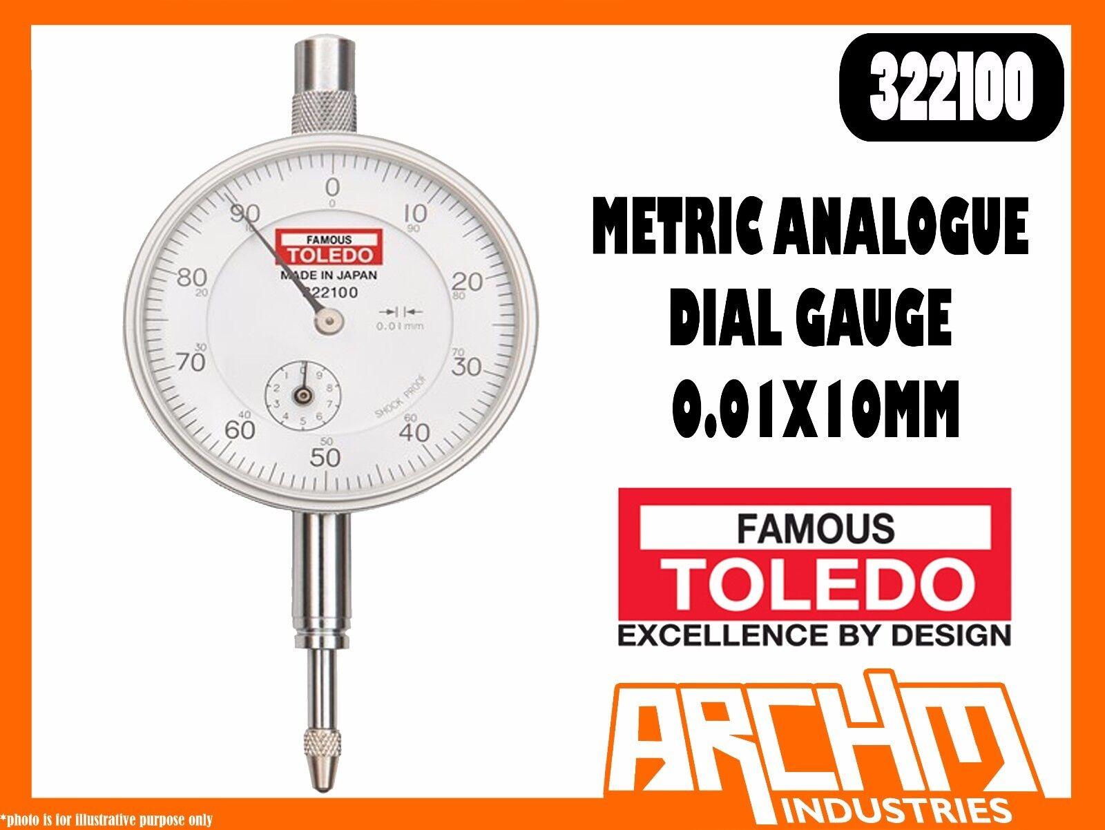 TOLEDO 322100 - METRIC ANALOGUE DIAL GAUGE - 0.01X10MM - HIGH PRECISION