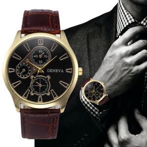 Reloj-de-Hombre-Moda-Caja-Acero-Inoxidable-Correa-Cuero-Cuarzo-Empresa-Pulsera