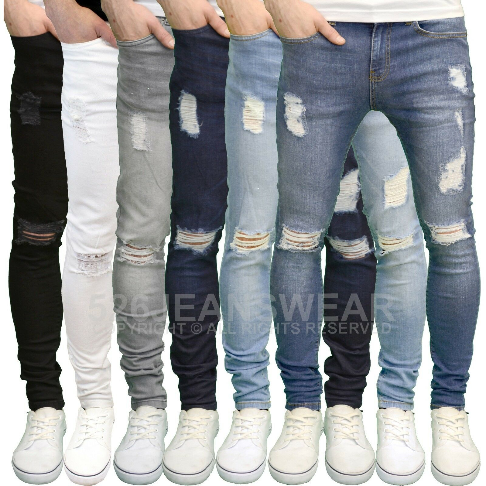 Enzo Mens Designer Branded Stretch Super Skinny Fit Distressed Ripped Jeans BNWT