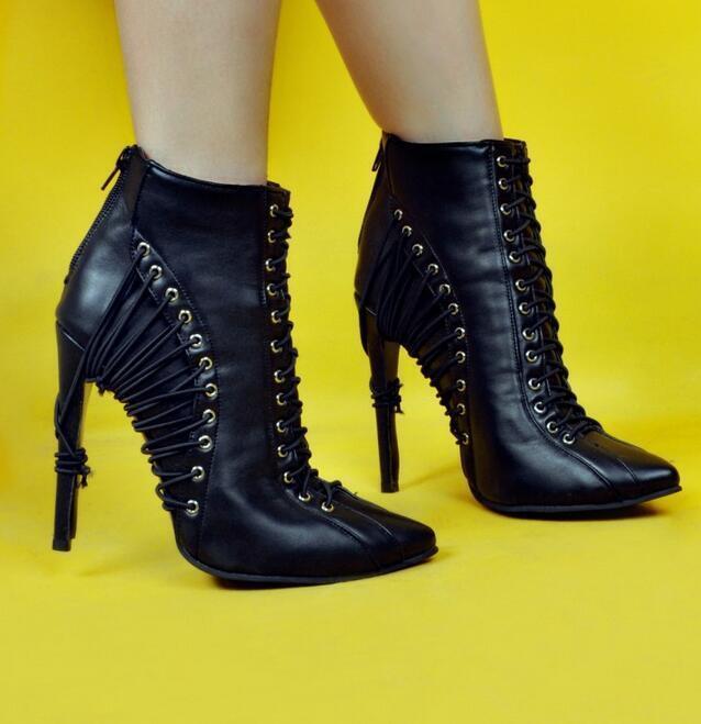 Femme européenne Bottines à Lacets à Lanières Talons Aiguilles Talon Haut chaussures UK Sz35-47