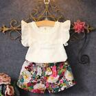 2-7Y Kids Baby Girls Outfits Clothes T-shirt Tops+ Floral Shorts Pants 2PCS Sets
