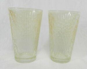 Lot-of-2-Vintage-Drinking-Glasses-Amber-Bamboo-Pattern-Slight-Luster-5-034-H