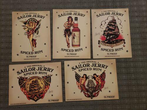 Set of 5 Sailor Jerry 12x16 A3 Vintage Posters Tattoo Pin Up Hula Girl RARE