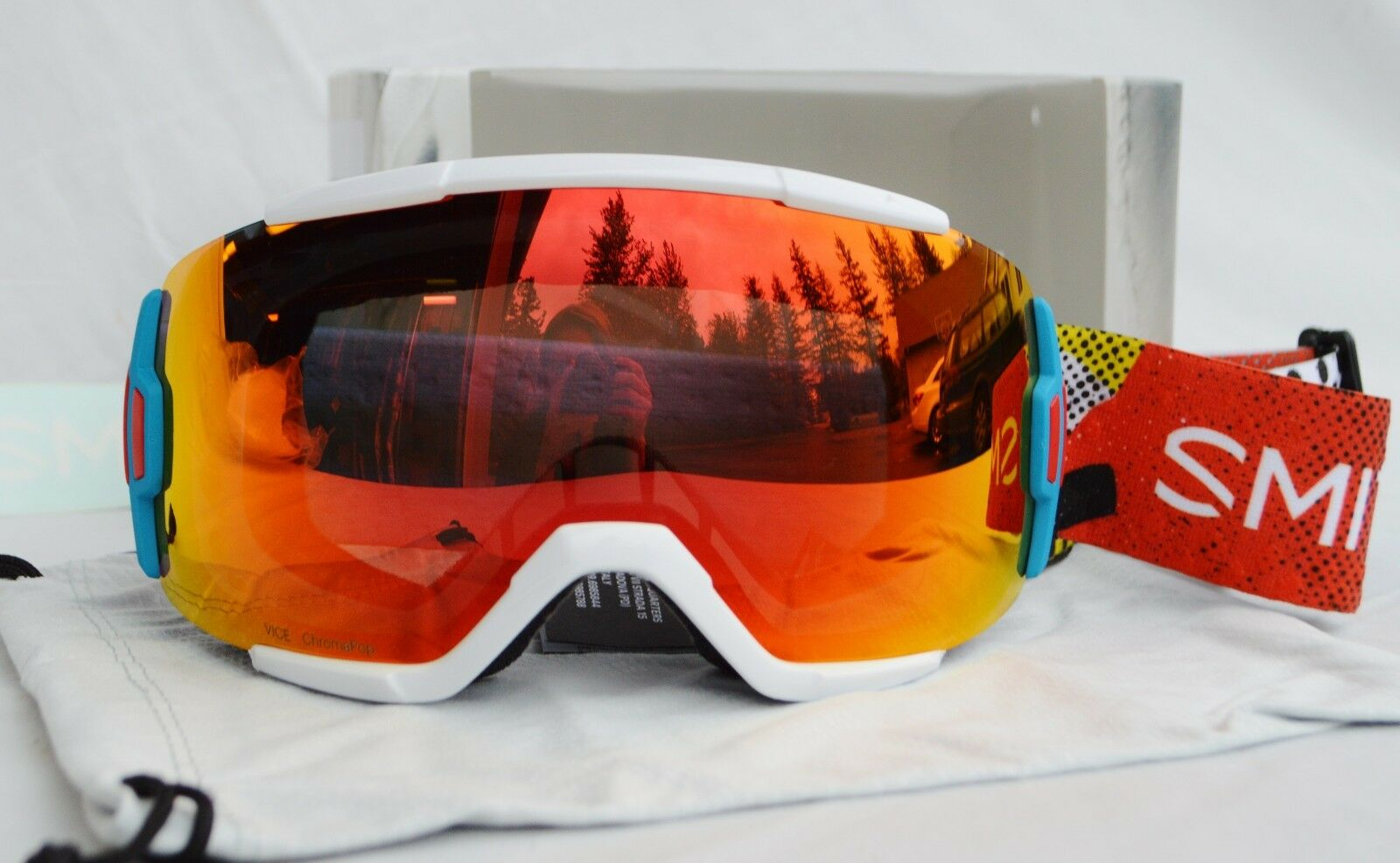 2018 NIB SMITH VICE SNOWBOARD GOGGLES  140 burnside   chromapop rot mirror