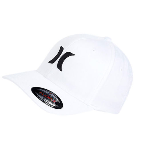Black White Hurley Men/'s One and Only Flex Fit Stretch Fitted Hat Cap