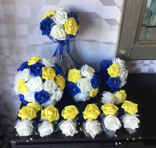 WEDDING FLOWERS BRIDE//MAID IVORY//ROYAL BLUE//YELLOW ROSE CRYSTAL  BOUQUET PACKAGE