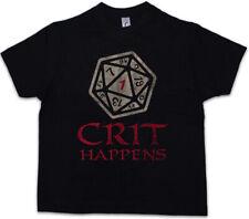 CRIT HAPPENS T-SHIRT Dungeons Gamer Games /& Video RPG Roleplay Dragons Larp Dice