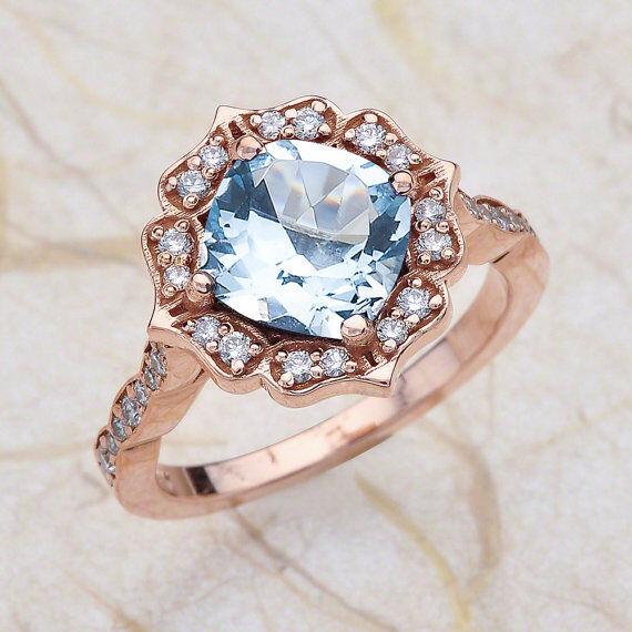 2.45ct Floral 8X8 Aquamarine & Diamond Engagement Ring 14k pink gold PD62