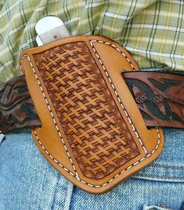 Medium-Leather-Cross-Draw-Pocket-Knife-Sheath-Ruff-s-Saddle-Shop-Tan