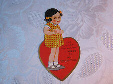 GIRL WITH HEART LOST MY HEART TO MY  VALENTINE VINTAGE EMBOSSED  CARD    T*