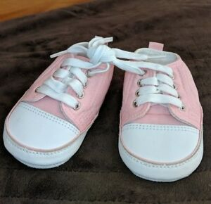 Infant Baby Girl Pink White Leather Sole High Top Tennis Shoes Size