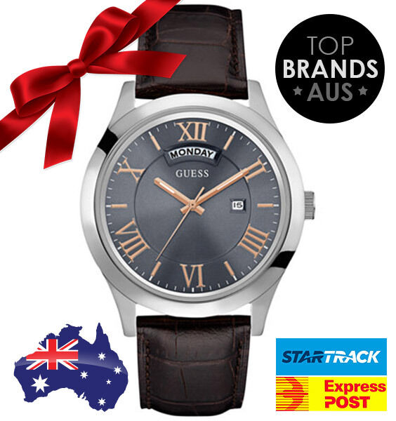 NEW GUESS MENS SILVER TONE STEEL WATCH  WITH LEATHER STRAP U0792G7 FREE POSTAGE