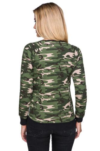 Ladies Casual Camouflage Army Crew Neck Long Sleeve Military Sweatshirt FZ94