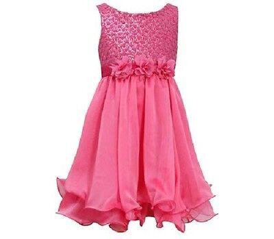 Bonnie Jean Girls Fuchsia Sequin Mesh Dot Church Wedding Pageant Dress Sz 6 New