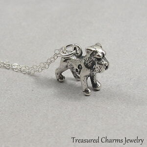 925 Sterling Silver Schnauzer Disc Charm and Pendant