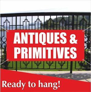 ANTIQUES-amp-PRIMITIVES-Banner-Vinyl-Mesh-Banner-Sign-Antiquit-Vintage-Shop