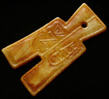 """PENDENTIF/AMULETTE JADE DOUBLE FACE  """"FENGSHUI""""...CHINE"""