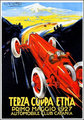 1927 Terza Coppa Etna Automobile Car Road Rally Race Advertisement Art Poster