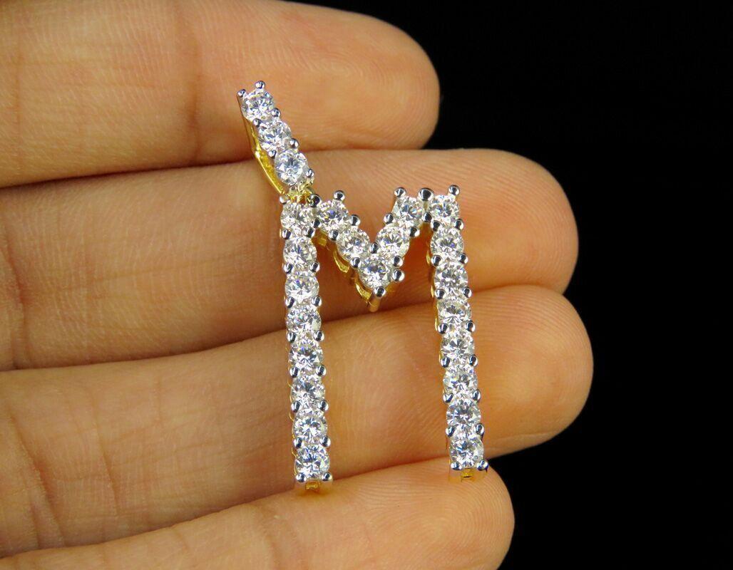 Men's 10K Yellow gold Over Round D VVS1 Diamond Initial Letter  M  Pendant Charm