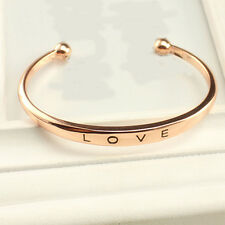 Simple Style LOVE Letter Exquisite Luxury Charm Rose Gold Bracelet Bangle US