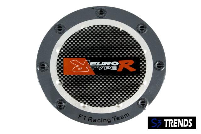 "2PC 5"" Euro Type R Carbon Fiber Rivet Gas Tank Fuel Door Cover Cap Sticker Decal"