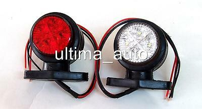 2x LED SIDE OUTLINE MARKER 24V RED/WHITE LIGHT TRAILER LORRY TRUCK CHASSIS BUS
