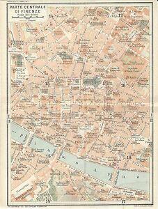Firenze Cartina Geografica.Map Ancient Firenze Florence Center Tci 1922 Old Antique Map Ebay