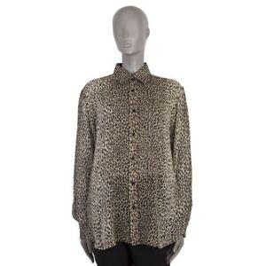 2e765c1aa09250 52776 auth SAINT LAURENT beige LEOPARD SHEER silk Blouse Shirt 40 M ...