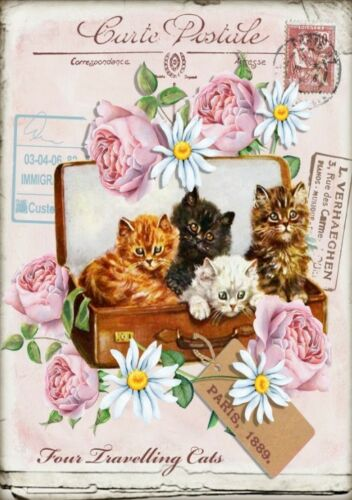 BÜGELBILD-Vintage-Shabby-Nostalgie-Cat-Katze-3083