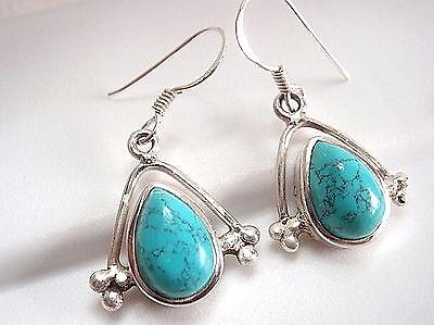 Small Turquoise Dangle Earrings 925 Sterling Silver Corona Sun Jewelry New