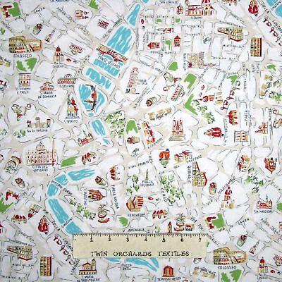 Travel Fabric - Italy Rome City Map Landmarks Beige - Dear Stella YARD    eBay