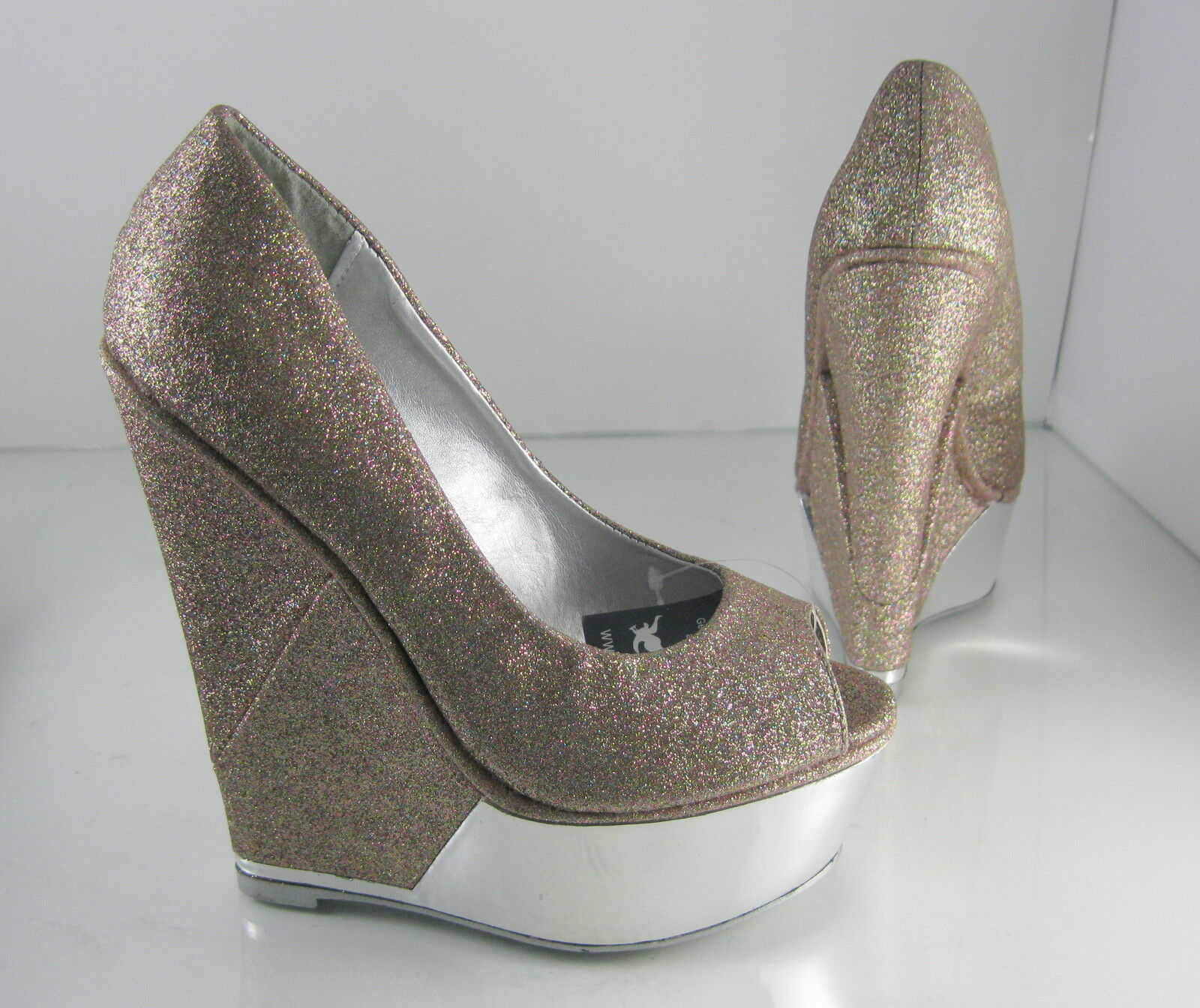 "Glitter 6"" High Wedge Heel 2"" Platform Open Toe Sexy Shoes Size 8.5"