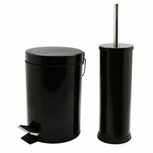 Cubo-De-Residuos-Basura-Pedal-Bano-3L-y-bano-titular-de-cepillo-Set-Acabado-Negro
