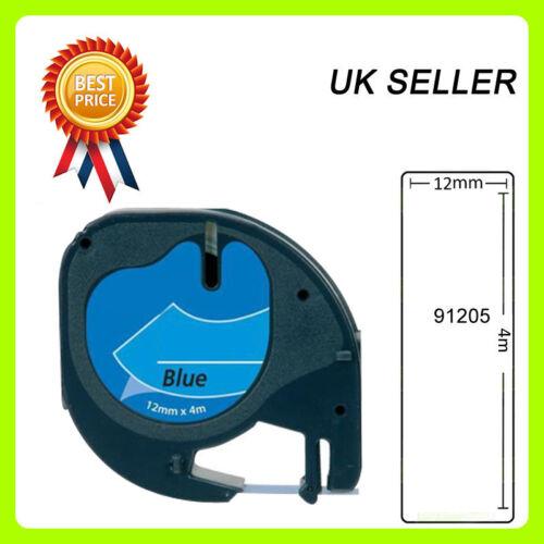1x Compatible Dymo LetraTag 91205 Black on Blue 12mm x 4m LT-100H LT-100T