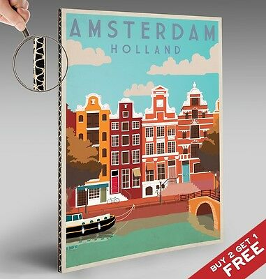 AMSTERDAM A4 POSTER * Vintage Travel Advertising Glossy Netherlands Holland Art
