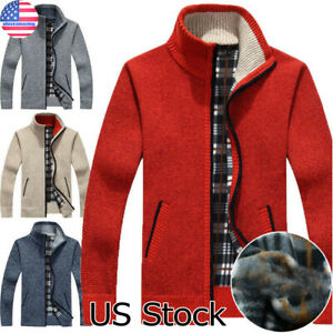 Thicken-Zipper-Knitwear-Coat-Men-039-s-Sweater-Jacket-Winter-Warm-Cardigan-Outwear