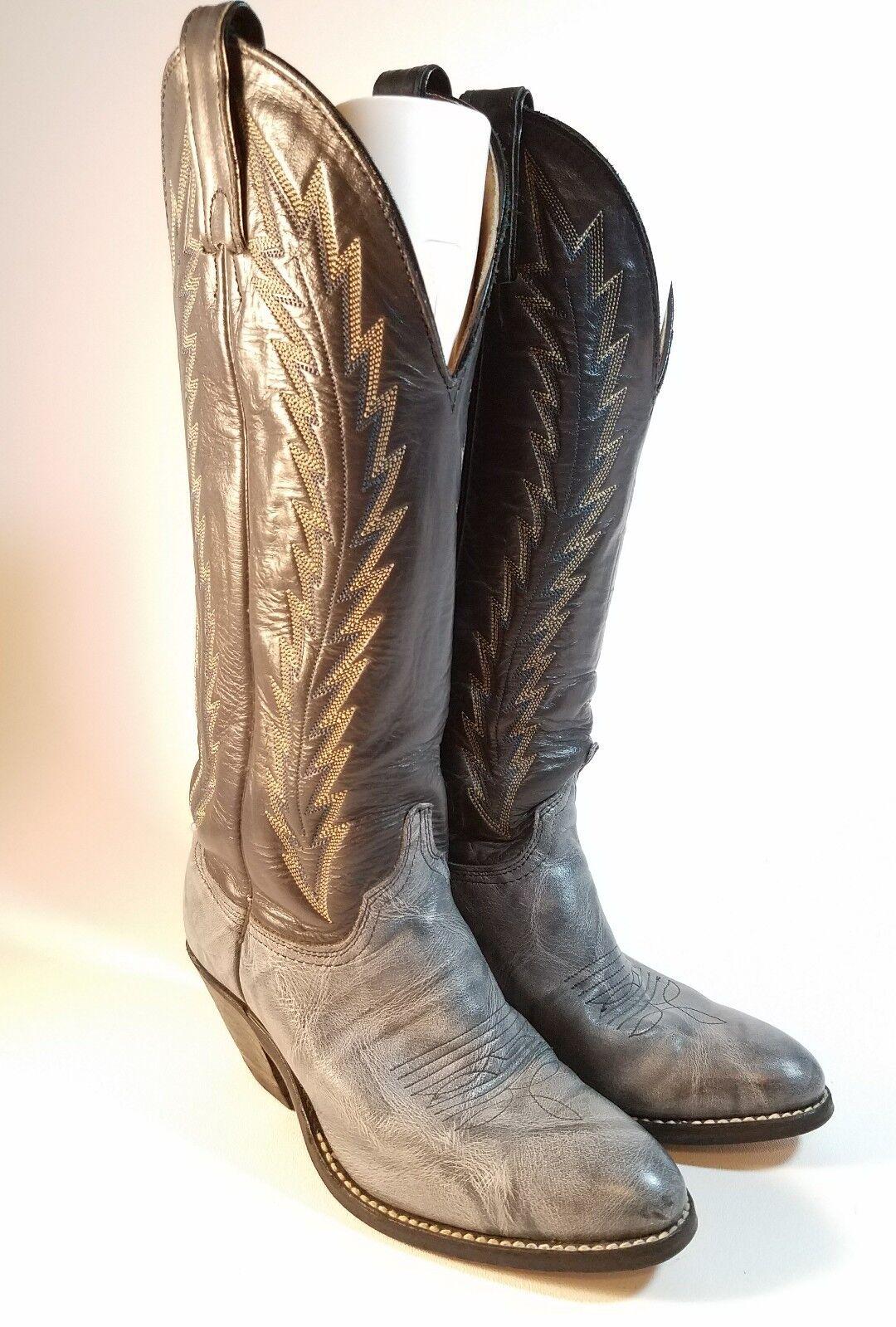 Vintage ABILENE Woman's Navy Blau Tall Shaft Leder Western Cowboy Stiefel Sz 5 M