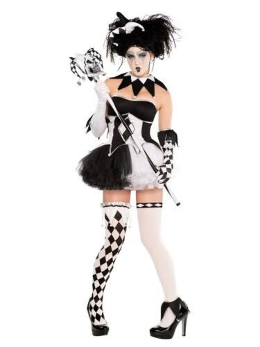 Jesterina Costume Ladies Halloween Fancy Dress Clown Circus Tricksterina Outfit