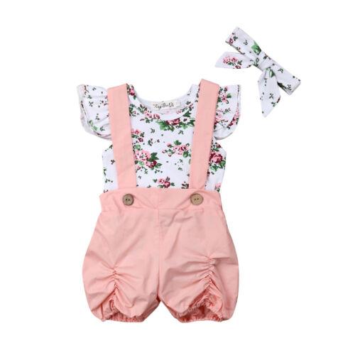 For Newborn Kid Baby Girls Flower Romper Bodysuit Bib Pants 3pcs Outfits Clothes