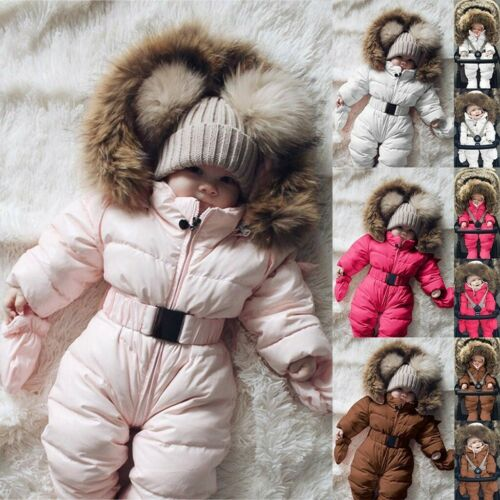 Baby Boy Girl Winter Coat Romper Jacket Hooded Jumpsuit Thick Outfit Outerwear